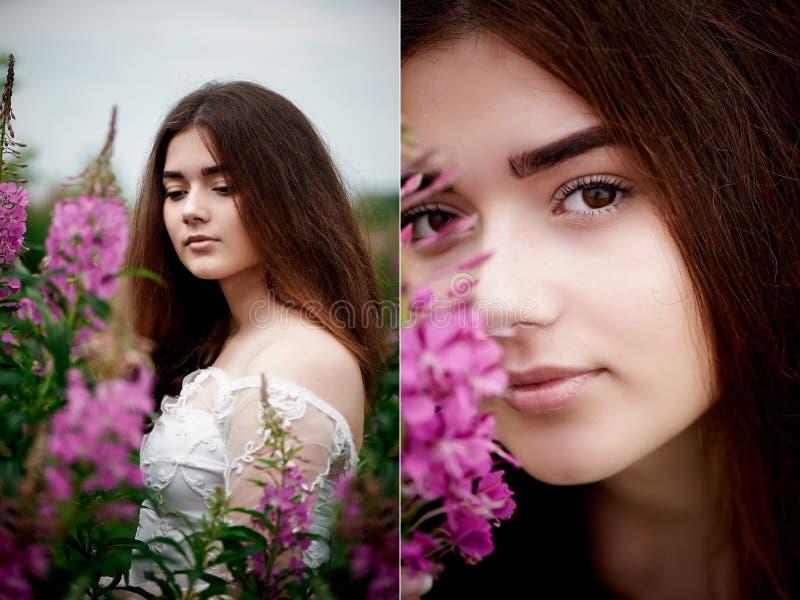 Piękna panna młoda w jaskrawej koronki sukni W polu z herbatą Naturalny piękno, minimalny makeup i luźny włosy, Dziecko obraz royalty free