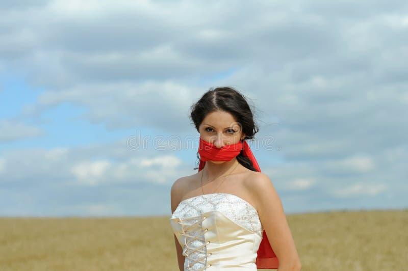 piękna panna młoda zamykający usta zdjęcie royalty free