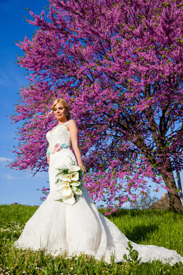 Piękna panny młodej blondynka outdoors w parku zdjęcia stock