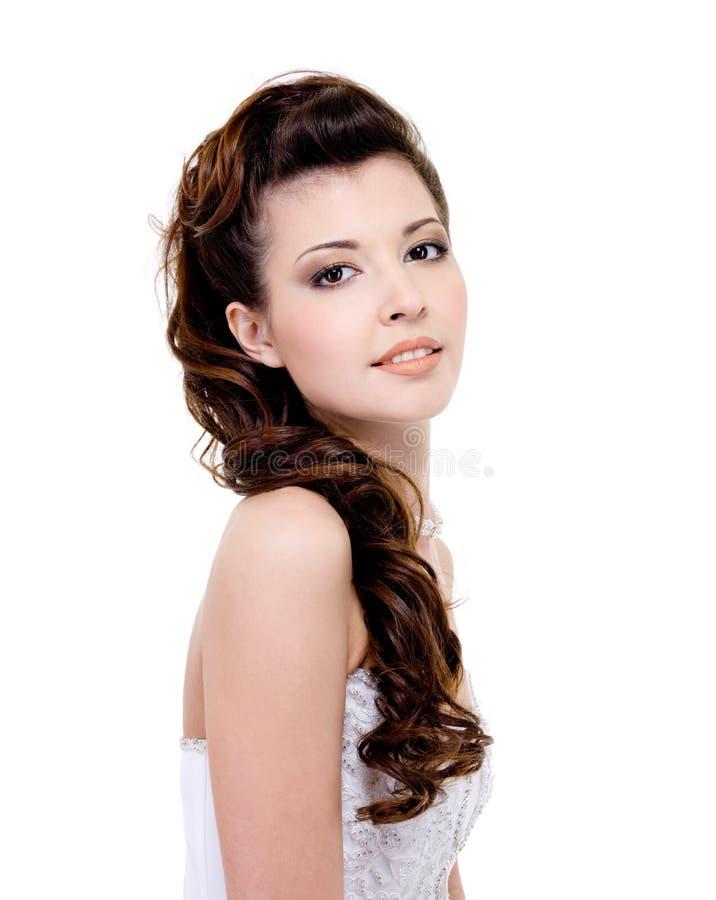 piękna panny młodej fryzury ślub zdjęcia royalty free
