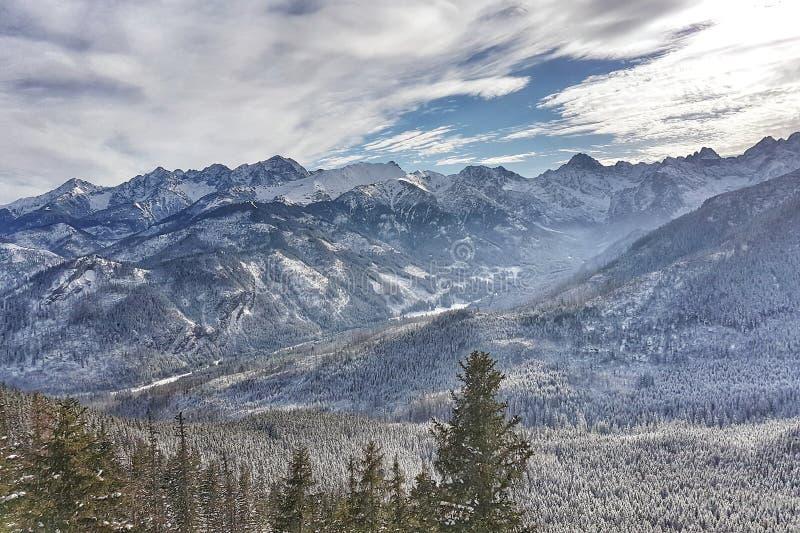 Piękna panorama śnieżysty pasmo górskie zdjęcie royalty free