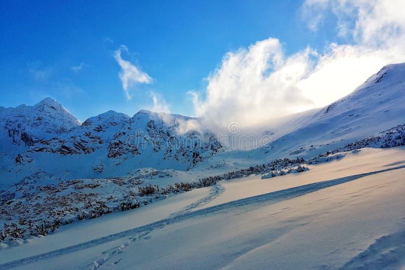 Piękna panorama śnieżysty pasmo górskie obraz stock