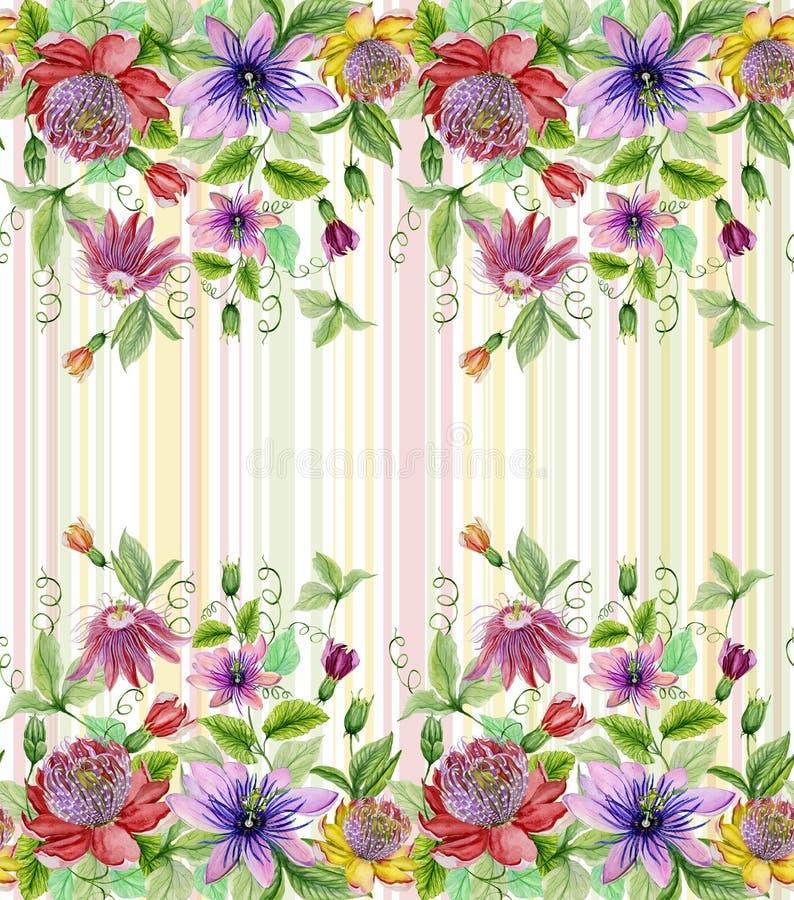 Piękna pasja kwitnie passiflora z zielonymi liśćmi na pastel paskującym tle bezszwowy kwiecisty wzoru Akwareli paintin ilustracja wektor