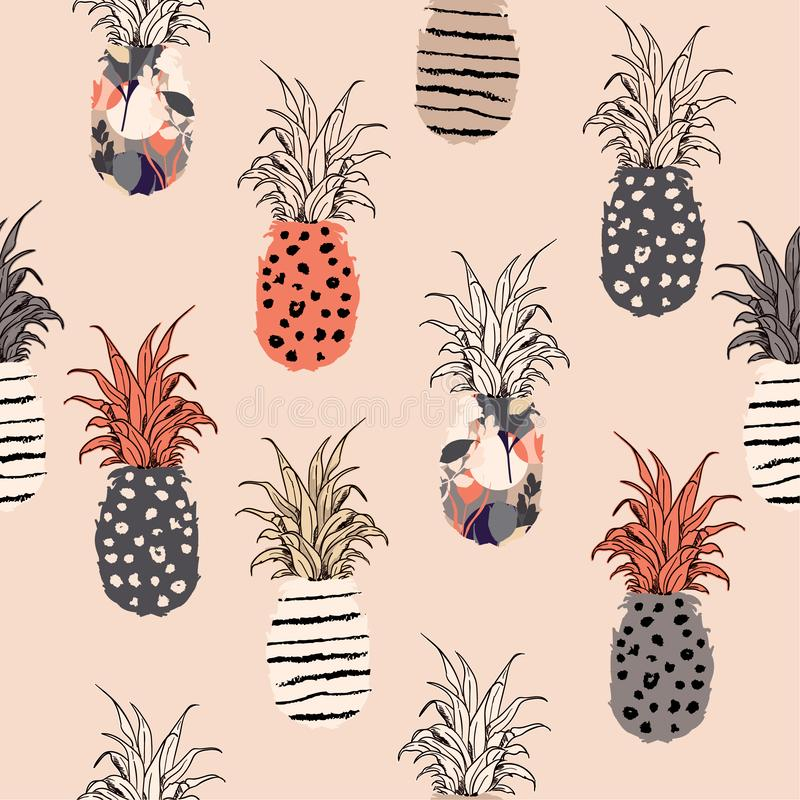 Piękna pastelowa ręka rysujący ananas z na ręki nakreśleniu l royalty ilustracja