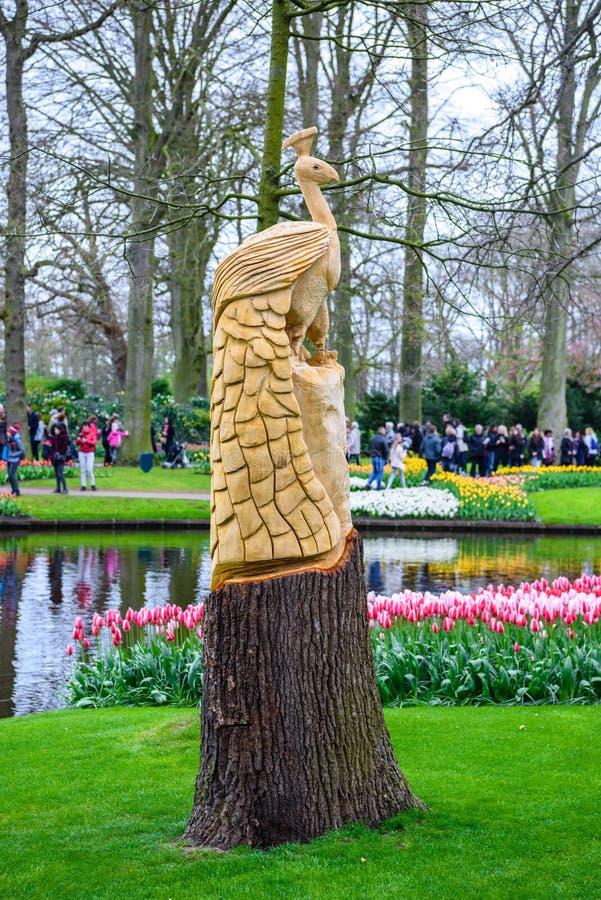 Piękna pawia statua w Keukenhof parku, Lisse, Holandia, holandie obrazy stock