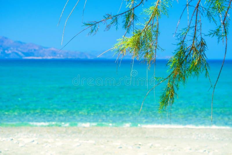 Piękna piaskowata plaża w Istron, Crete fotografia stock
