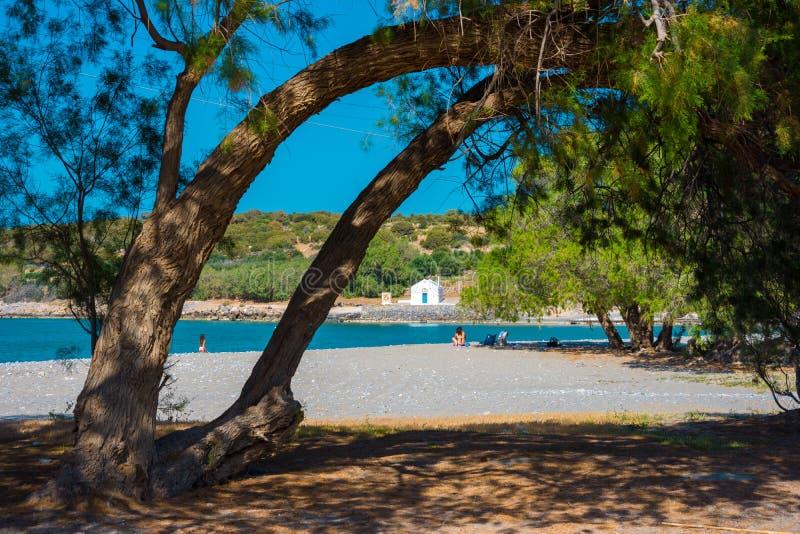 Piękna piaskowata plaża w Istron, Crete zdjęcie royalty free