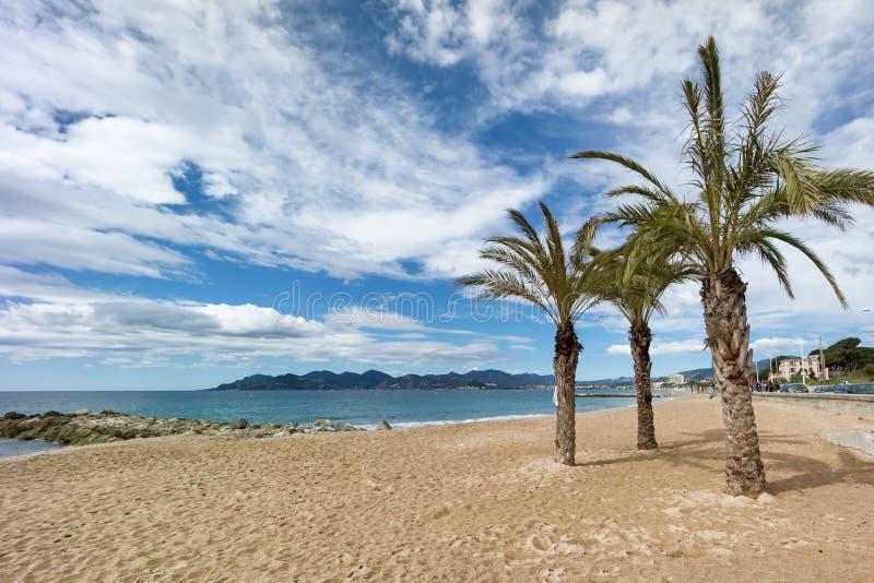 Piękna plaża Cannes, Francja fotografia stock