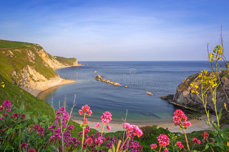 Piękna plaża dalej Dorset, UK fotografia royalty free