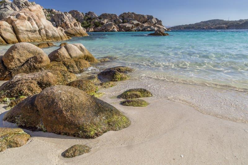 Piękna plaża na zatoce Cala Coticcio w Caprera wyspie, Sardinia, Włochy obraz royalty free