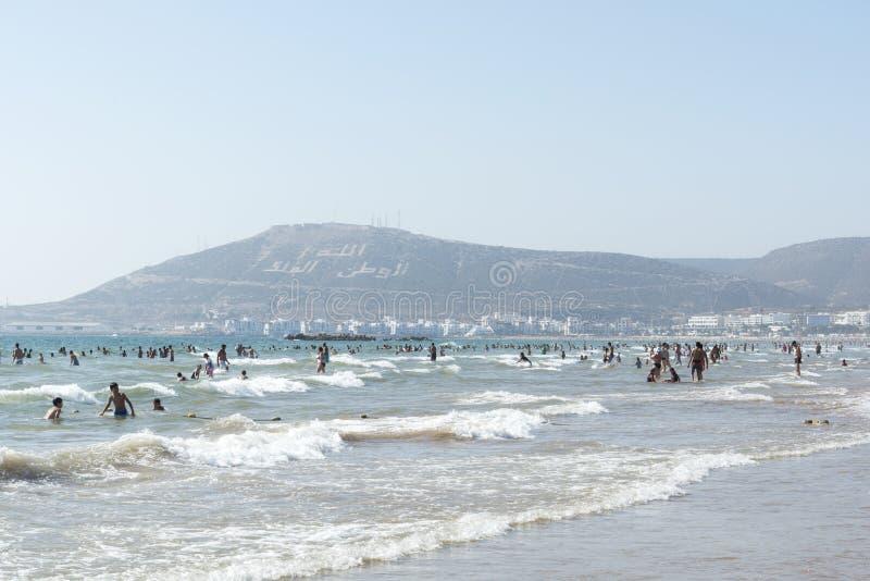 Piękna plaża w Agadir zdjęcia stock