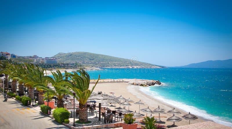 Piękna plaża w Saranda, Albania obraz royalty free