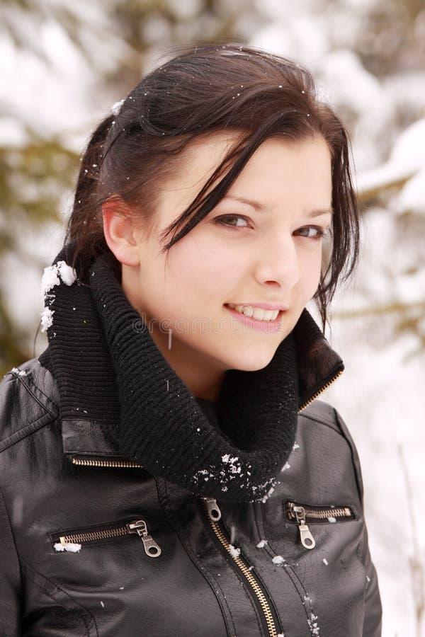 piękna plenerowa śnieżna kobieta zdjęcia stock