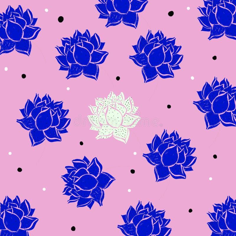 Piękna pociągany ręcznie tapeta z purpurowymi i białymi kwiatami na różowym tle ilustracja wektor