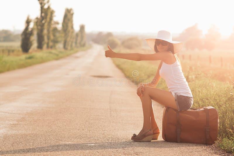 Piękna podróżnicza dziewczyna zdjęcia stock