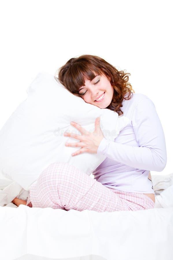 piękna poduszki smiley kobieta zdjęcia royalty free