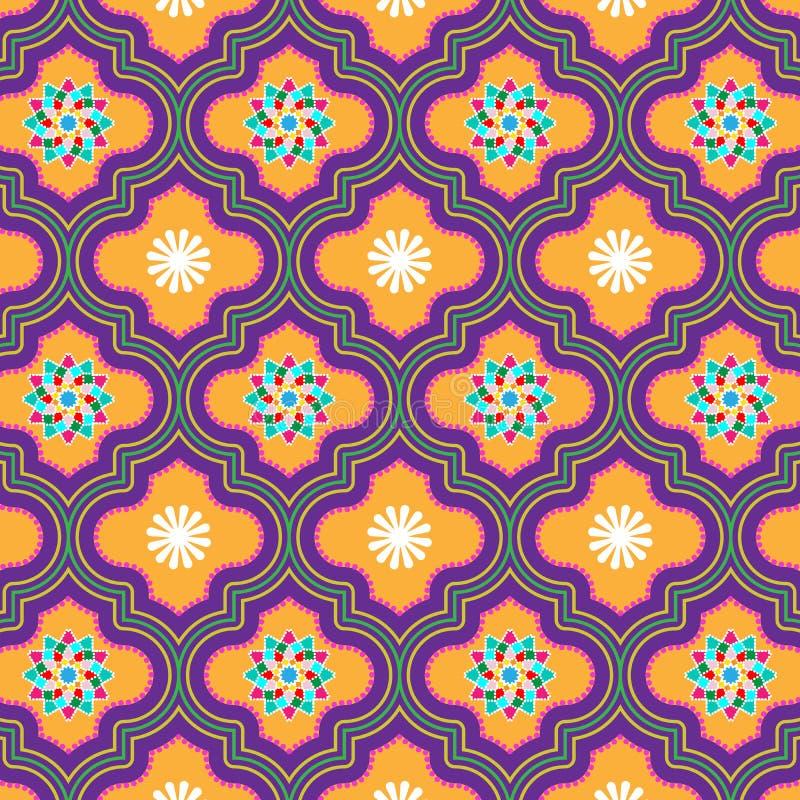 Piękna pomarańcze i fiołek dekorowaliśmy Marokańskiego bezszwowego wzór z kwiecistymi projektami ilustracji