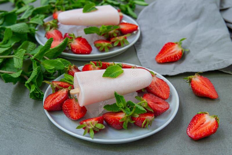 Piękna porcja owocowy lody z truskawkami i lodem dekorował z mennicą fotografia stock