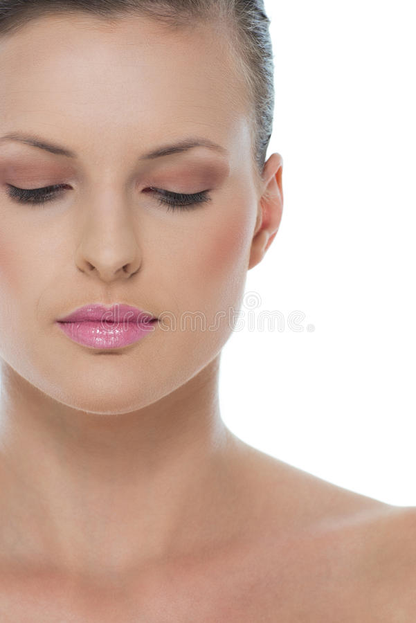 Piękna portret kobieta z zamkniętymi oczami obrazy royalty free