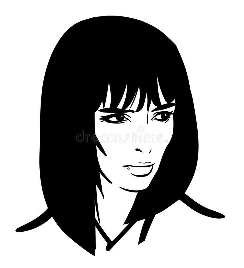 piękna portret kobiety Bob fryzura Czarny i biały styl ilustracja royalty ilustracja