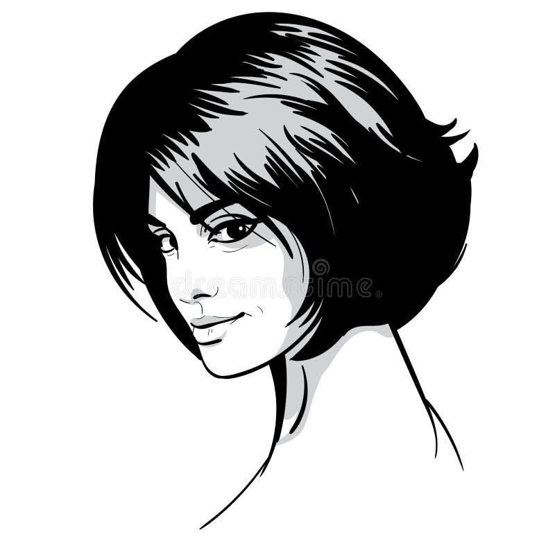 piękna portret kobiety Bob fryzura Czarny i biały styl ilustracja ilustracji