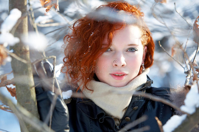 piękna portreta zima kobieta obraz stock