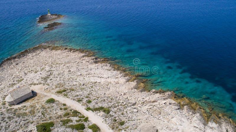 Piękna powietrzna fotografia Razanj w Dalmatia, Chorwacja, Europa obrazy royalty free