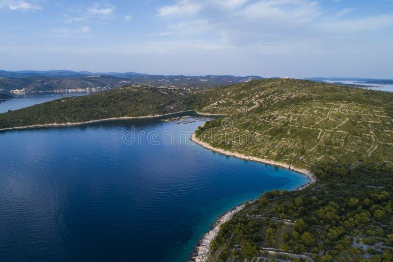 Piękna powietrzna fotografia Rogoznica Dalmatia, Chorwacja fotografia stock