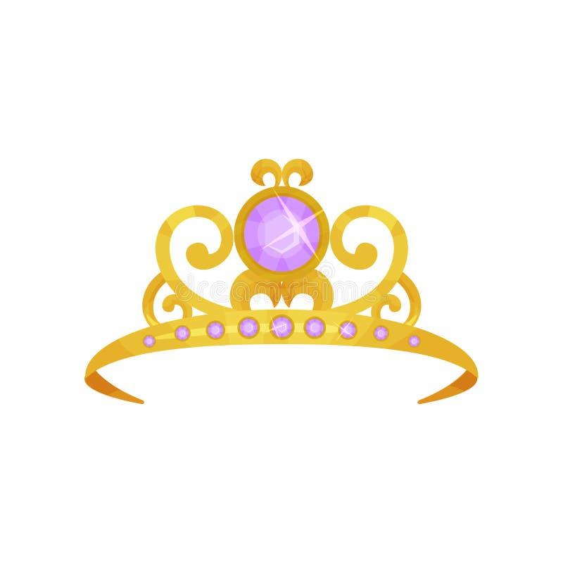 Piękna princess korona dekorował z round purpurowymi gemstones Złota tiara Cenny królowej akcesorium Symbol królewski royalty ilustracja