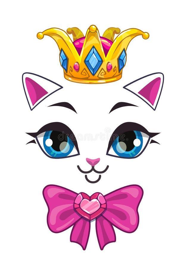 Piękna princess kota twarz na białym tle royalty ilustracja