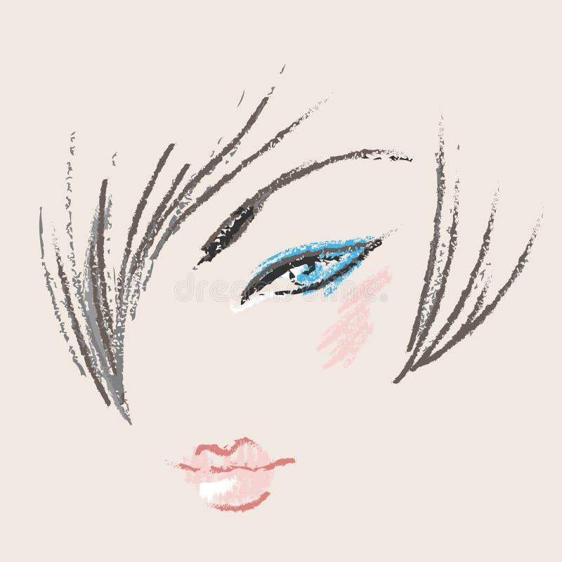 piękna projekta twarzy makeup kobieta royalty ilustracja