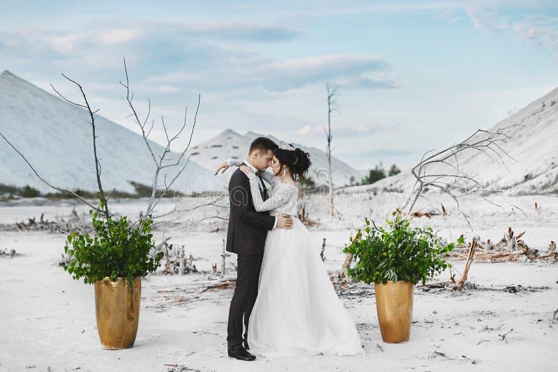 Piękna przytulenie para kochankowie przy biel pustynią, młoda kobieta z ślubną biżuterią, fryzury i luksusu i zdjęcia stock