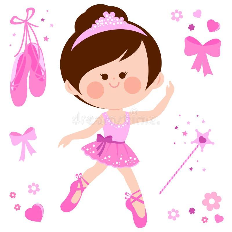 Piękna różowa balerina tancerza dziewczyna royalty ilustracja