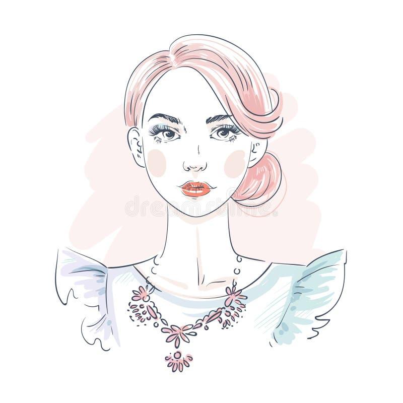 Piękna różowa włosiana młoda kobieta w wieczór sukni Ręka rysujący elegancki kobieta portret pani mody nakreślenie ilustracja wektor