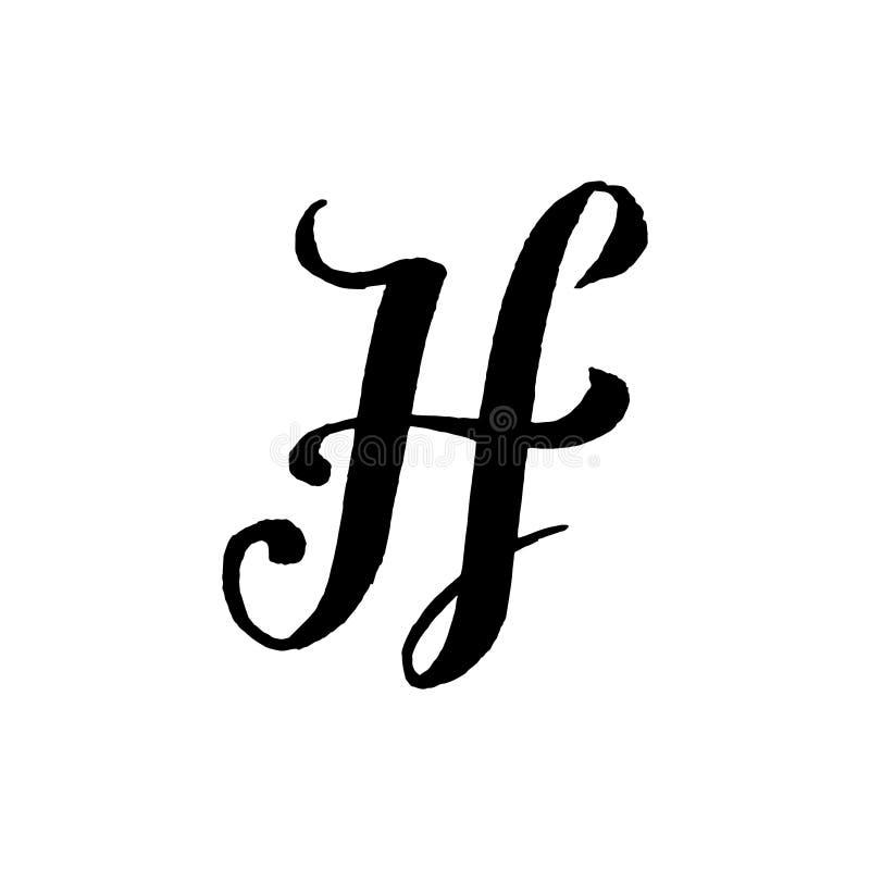 Piękna ręka pisać kapitałowy list H z kędziorami na białym tle obraz royalty free