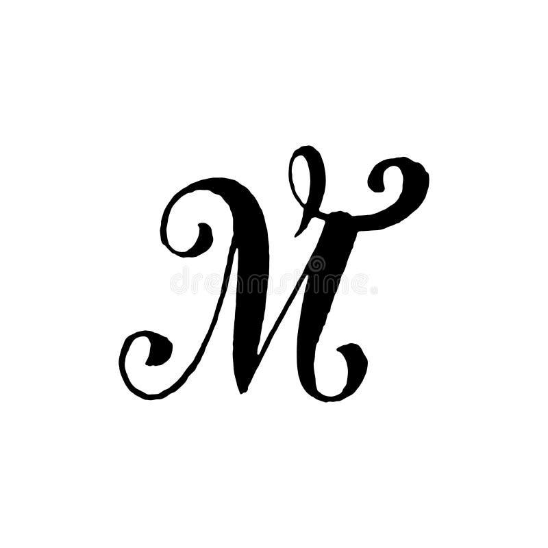 Piękna ręka pisać kapitałowy list M z kędziorami na białym tle zdjęcie royalty free