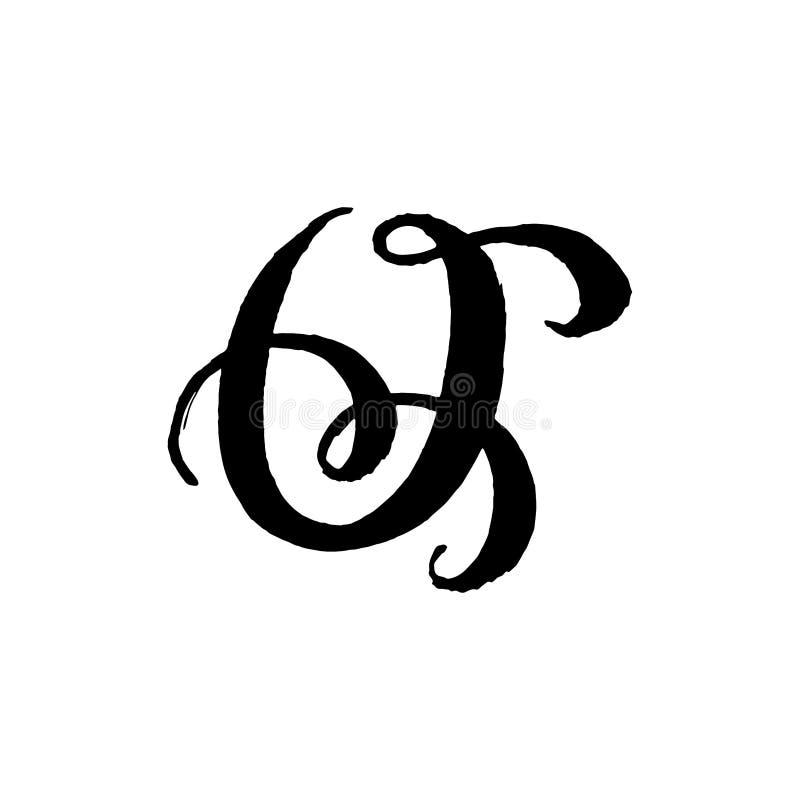Piękna ręka pisać kapitałowy list O z kędziorami na białym tle obraz royalty free