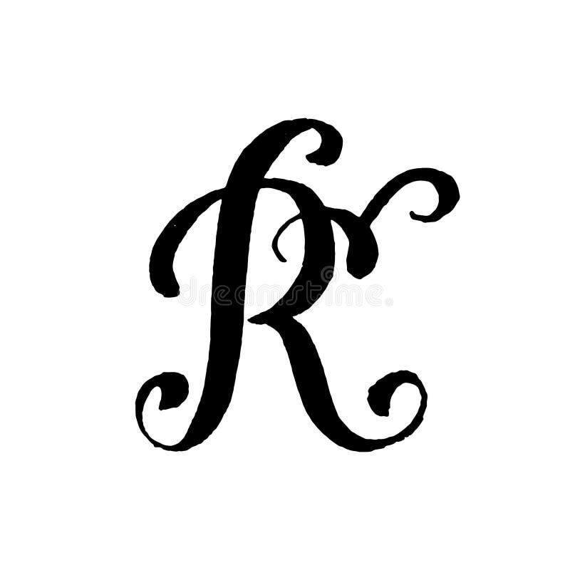 Piękna ręka pisać kapitałowy list R z kędziorami na białym tle obrazy stock