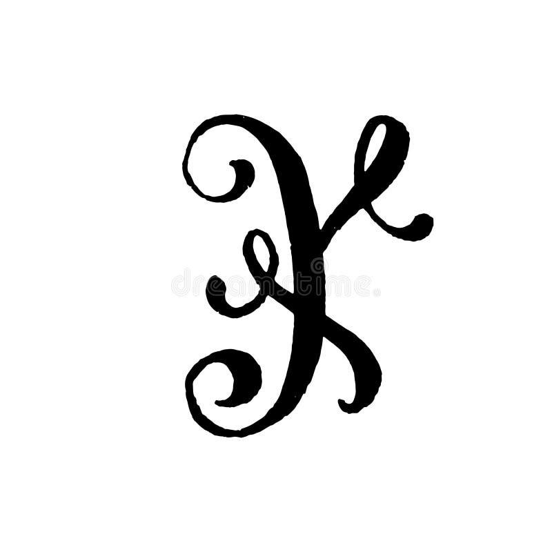 Piękna ręka pisać kapitałowy list Y z kędziorami na białym tle zdjęcia royalty free