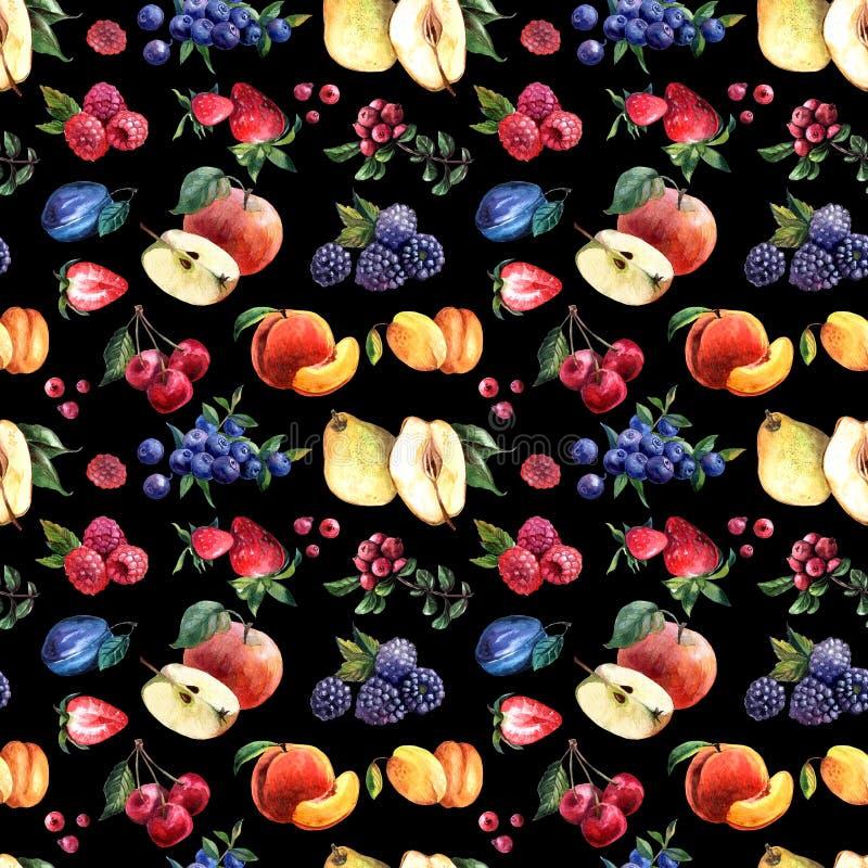 Piękna ręka rysować akwareli bezszwowe deseniowe owoc i jagody obraz stock