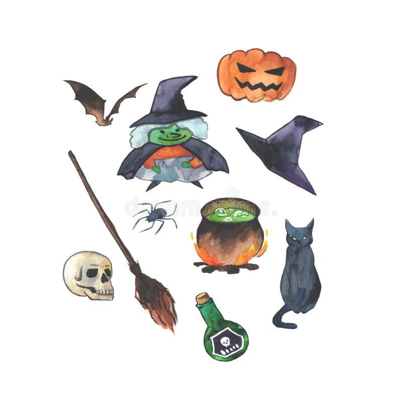 """Piękna ręka rysująca akwareli Helloween ilustracja z """"The Witch' caracter ilustracja wektor"""