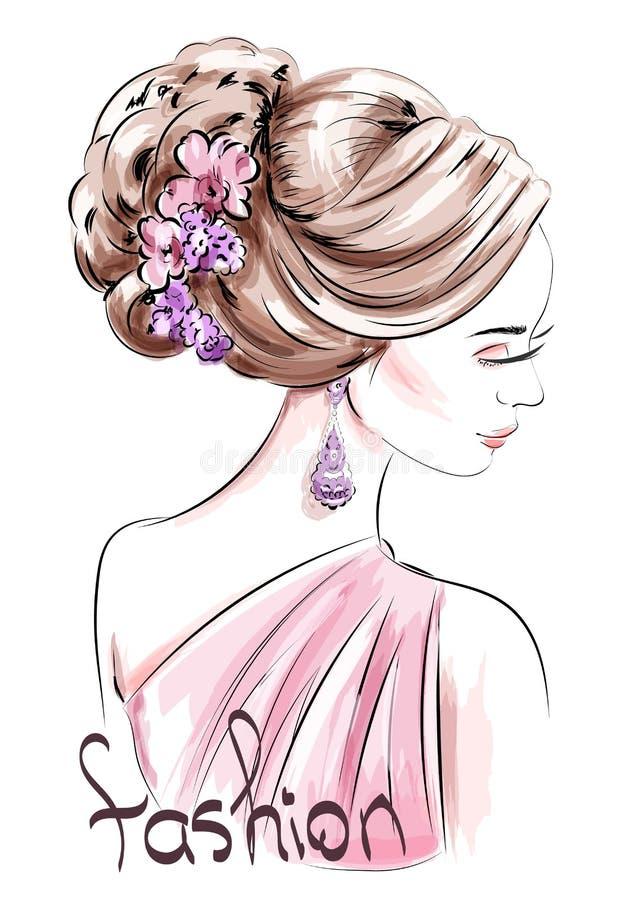 Piękna ręka rysująca kobieta z śliczną fryzurą nakreślenie kobieta mody royalty ilustracja