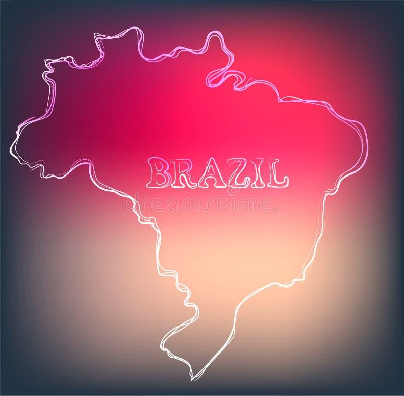 Piękna ręka rysująca kontur mapa Brazylia, wektorowa ilustracja royalty ilustracja