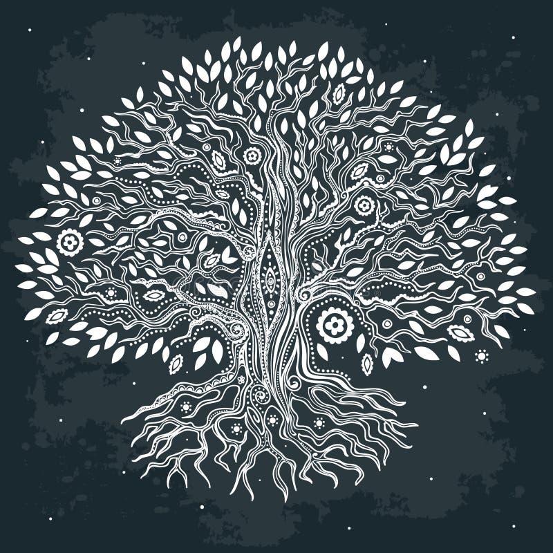 Piękna ręka rysujący rocznika drzewo życie ilustracji
