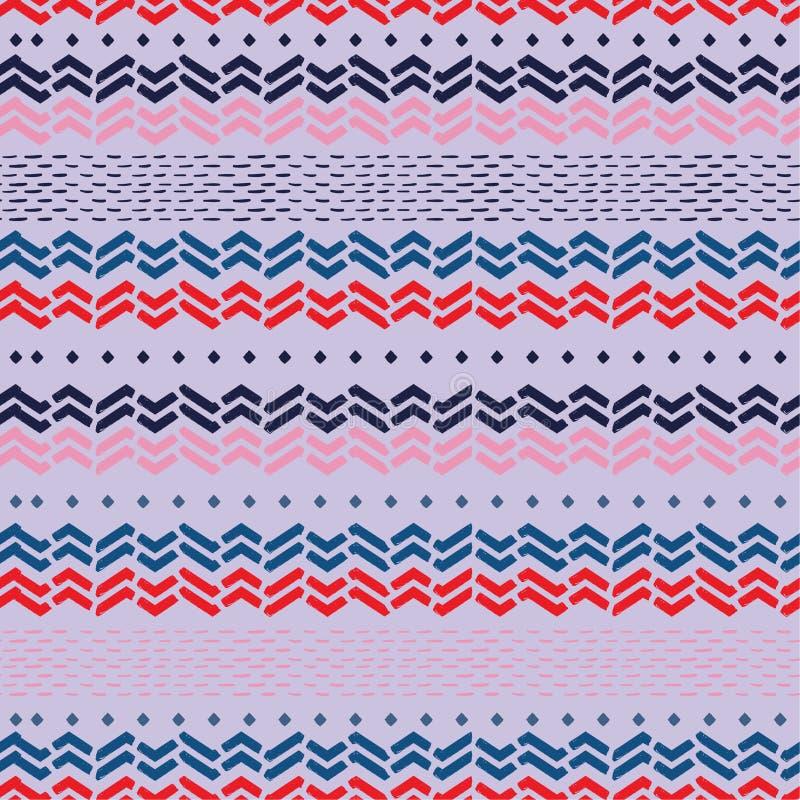 Piękna ręka rysujący szewronu zygzag macha w horyzontalnego lampasa bezszwowym wzorze w wektorze Projekt dla mody, tkanina, sieć, ilustracja wektor