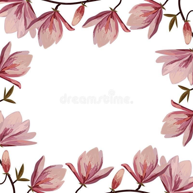 Piękna rama z różowymi magnoliowymi kwiatami ilustracja wektor