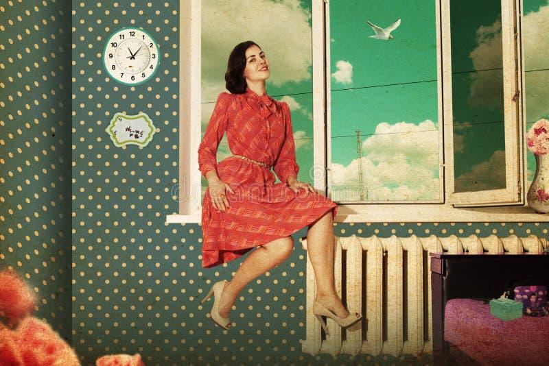 piękna retro izbowa kobieta zdjęcie royalty free