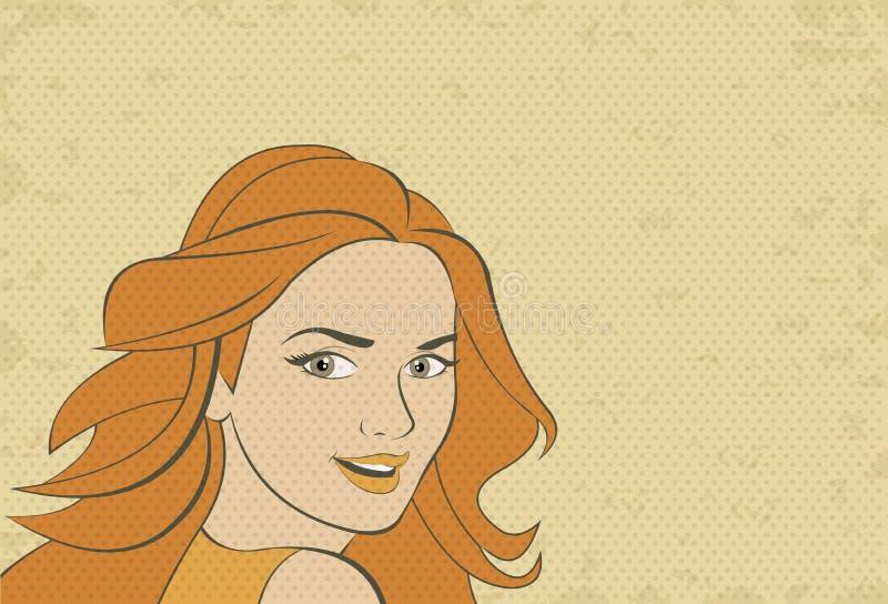 Piękna retro kobiety twarz royalty ilustracja