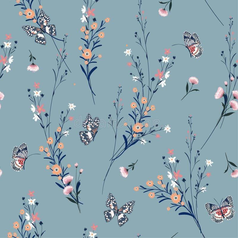 Piękna rocznik łąka kwitnie dmuchanie w wiatrze z masłem royalty ilustracja
