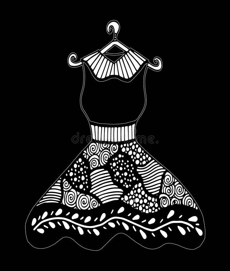 Piękna rocznik suknia Czarny i biały wektor dla barwić ilustracja wektor